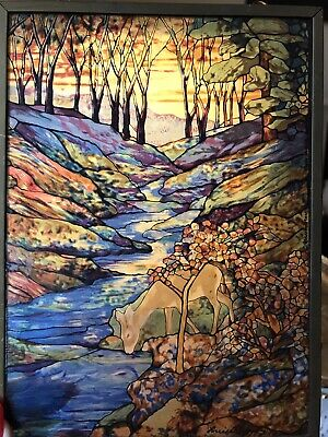 """Glassmasters Louis C. Tiffany Suncatcher Stained Glass Style Panel """"The Fawn"""""""