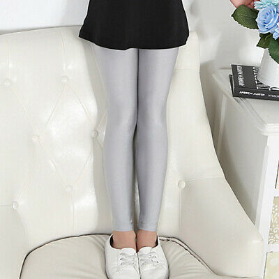 Children Kids Girls Plain Nylon Full Length Leggings Party Pants Summer All Ages