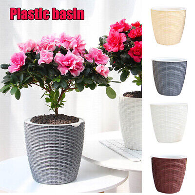 Plant pot cover indoor plastic rattan flower cover round modern