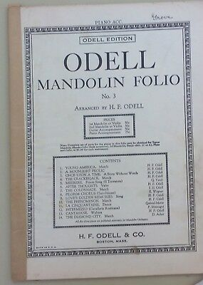 rare 1921 ODELL MANDOLIN FOLIO No. 3 - piano accompaniment for 10 songs