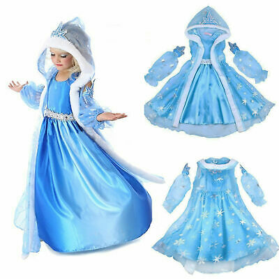 Girls Kids Gift Elsa Princess Fancy Dress Up Cosplay Costume Party Hooded Cape