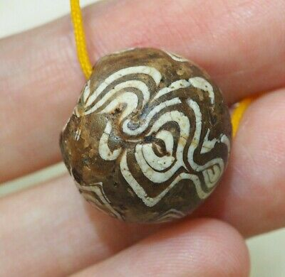 Ancient White Brown  Swirled Waves Mosaic Glass Folded Islamic Medieval Bead