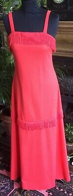 Vintage C&A Orange Red Frilled Maxi Party Dress 10 12 Christmas 60s 70s