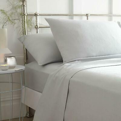 Grey Flannelette Sheets 100% Brushed Cotton Bedding Fitted Flat Pillowcases