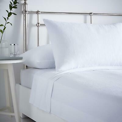 White Flannelette Sheets 100% Brushed Cotton Bedding Fitted Flat Pillowcases