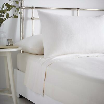Cream Flannelette Sheets 100% Brushed Cotton Bedding Fitted Flat Sheet Full Sets