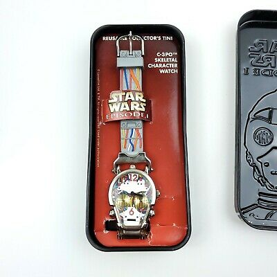 Vintage Star Wars Episode I C3PO Skeletal Character Watch & Collector's Tin