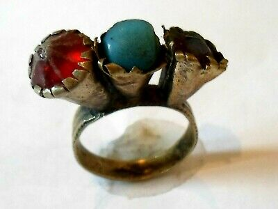 Genuine,Beautiful,Detector Find,Post Medieval Bronze  Ring With Glass/Stones.