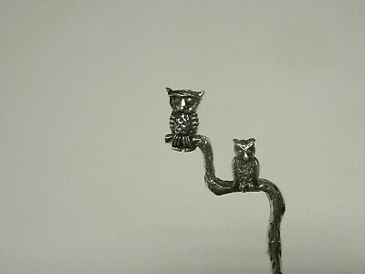 Salt Spoon Sterling Silver ( w/2  Baby  Owl )