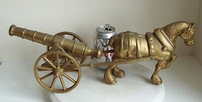 Large Brass Heavy Shire Horse Pulling canon on wheels length 45 cm 2.7 kg