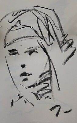 JOSE TRUJILLO Original Charcoal on Paper Sketch Drawing 11X17 Young Woman SIGNED