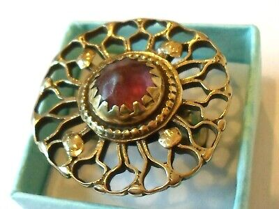 100% Genuine,Detector Find & Polished,Post Medieval Ae Ring W/Glass/Stone