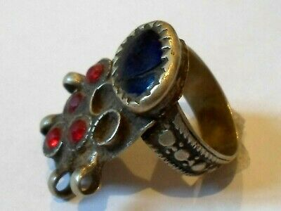 100% Genuine,Beautiful,Post Medieval Silvered  Ring W/Glass/Stones
