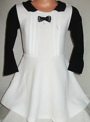 GIRLS WHITE & BLACK CONTRAST DIAMONTE BOW SKATER PARTY DRESS age 2-3