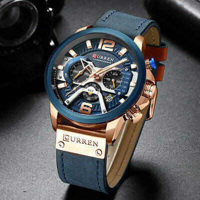 CURREN Casual Sport Watches for Men Blue Top Brand Luxury Military Leather Wrist