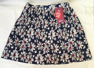 New Tu Girls Floral Skirt Blue with White and Pink Flowers 7 Years