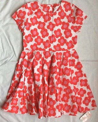New Mothercare Girls Floral Flower Dress 7-8 Years White Red Pink