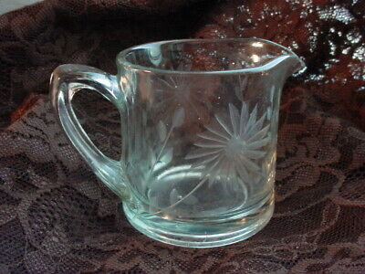 Vtg Etched Daisy Cream Pitcher 3 inch Small Breakfast Tray Size Clear Glass
