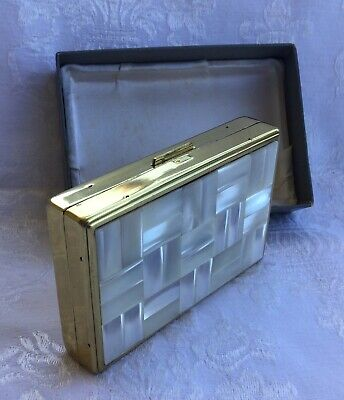 """1950s Musical Mother Of Pearl Powder Compact + Original Box """"Clover"""" Beautiful!!"""