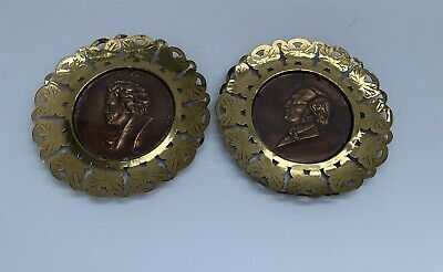 Set Of 2 Brass Wall Hanging Plates Composer Side Profiles Beethoven Mendelssohn