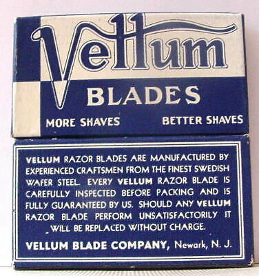 Vintage  FULL BOX  VELLUM DE  Safety Razor Blades