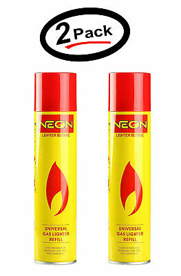 Neon Can Gas Refill Butane Fuel & Nozzle adapter Refined 300ml 10.14Oz Pack of 2