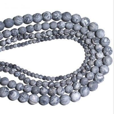 Frosted map stone Beads Gemstone Round Spacer Beads 4mm 6mm 8mm10mm DIY Jewelry
