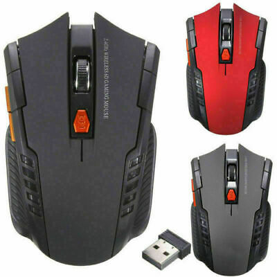 2.4GHz Optical Computer Wireless Gaming Mouse 1200DPI 6 Buttons 10M Range UK