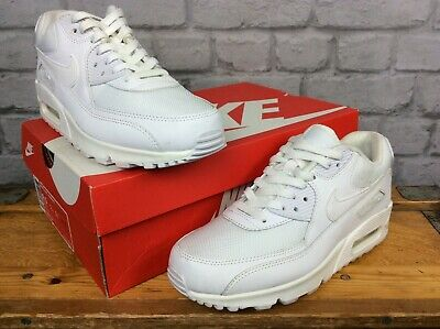 Nike Air Mens Uk 7 Eu 41 White Max 90 Essential Leather Mesh Trainers Rrp £100 G