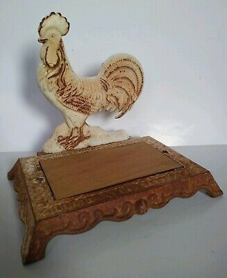Antique Cast Iron Rooster with Stand Rusty/White Unique 23cm x 26cm x 17cm