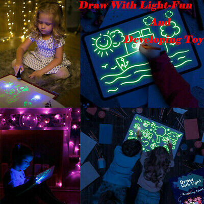 Draw With Light Fun And Developing Toy UV Luminous Pen Drawing Board Kids Gift