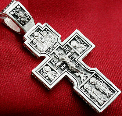 Exclusive Russian Orthodox Icon Cross, Silver 925 Christian Jewelry. Prayer