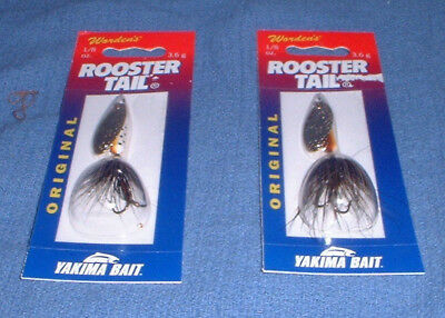 NEW Rooster Tail White Body /& Tail Gold Blade Spinners Choice of Size /& Quantity