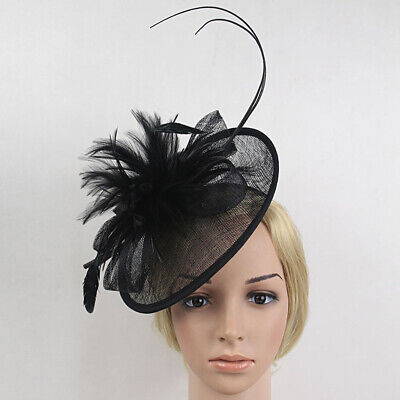 Wedding Races Party Fascinator Veil Net Hat with Flax and Feathers Hatinator New