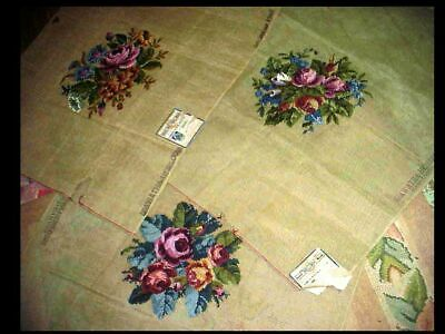 3 Vintage Antique Hiawatha Heirloom Tapestry Needlepoint Canvas Floral w/ Labels