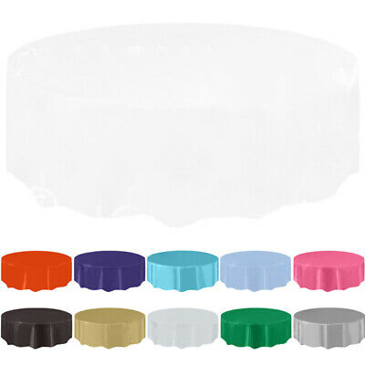Pure Color New Round Plastic Tablecovers Table Cloth Cover Catering Events