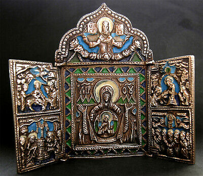 A beautiful bronze & enamel post Medieval icon