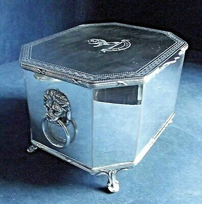 SUPERB Large ~ GEORGIAN Style ~ CRESTED ~ LIONS Head ~ BISCUIT BOX ~ c1930