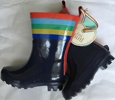 Little Bird By Jools Oliver Navy Striped Wellington Boots Infant Size 6 🍄🌈