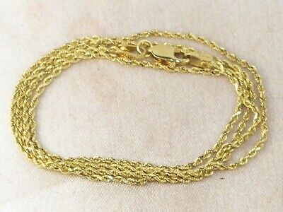 """14k Yellow Gold 585 Solid Rope Chain 18"""" Long Fine Necklace"""