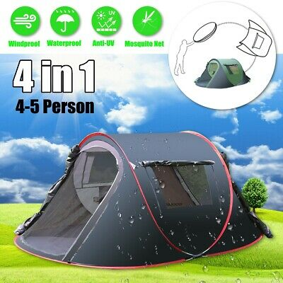 Waterproof 4-5 Person Camping Hiking Easy Folding Setup Instant Pop Up Dome Tent