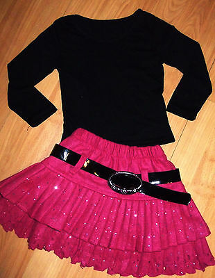 GIRLS BLACK TOP & PINK SPARKLE PRINT RUFFLE SKATER COSPLAY PARTY SKIRT age 3-4