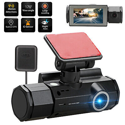 Dual Lens GPS Camera HD 1080P Front and Inside Car DVR Dash Cam w/ Night Vision