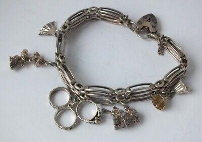 Solid Sterling Silver Gate Link Charm Bracelet/ L 17cm/ with Silver Charms/38 g