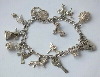 Solid Sterling Silver Charm Bracelet/ L 16 cm with Silver Charms/ 20 g