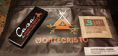 1BOX OF FANCY Montecristo WOODEN CIGAR MATCHES Humidity pack and Bag