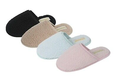 Women's winter indoor house slippers microterry spa slide slippers