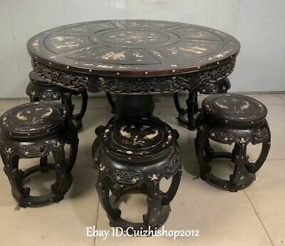 120cm Top Pterocarpus Santalinus Shell Belle Fish Flower Table Stool Chair Set