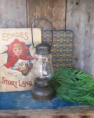 Antique Tin and Glass Skater's Lantern Free Shipping