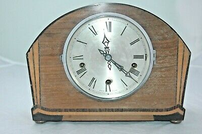 Enfield Royal, Antique Oak/Inlaid Case Mantle Clock,Westminster Chimes.
